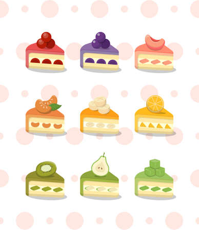 9 kinds of cakes on polka dot background