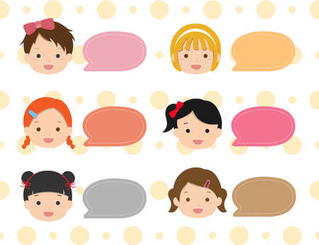 Many cute children set bubble boxes, dialog boxes and polka dot backgrounds 矢量图像