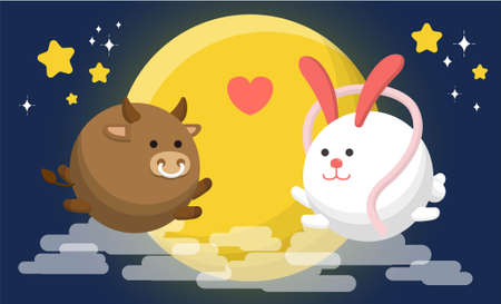 Chinese holiday, Chinese Valentine's Day, rabbit and cow, cartoon vector illustration, July 7