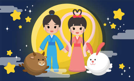 Chinese holiday, Chinese Valentine's Day, Cowherd and Weaver Girl, cartoon vector illustration, July 7