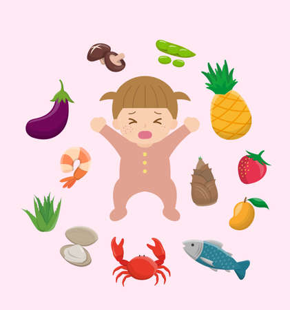 Itchy and allergic foods for baby girls, eggplant, shrimp, aloe, clam, crab, fish, mango, bamboo shoot, strawberry, pineapple, pod, bean bowl, mushroom, set