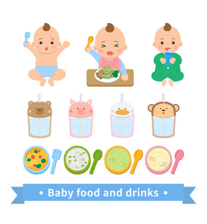 Little boy baby eating noodles, drinking water, noisy, happy, green jumpsuit, baby food supplies set Vettoriali