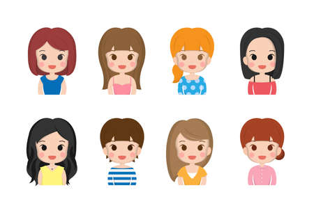 Variety of woman, girl, cute, smile, facial expression, hair color, cute illustration, set 矢量图像