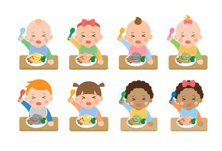 Cute crying babies and their daily illustration set, baby eating baby noodles with fork