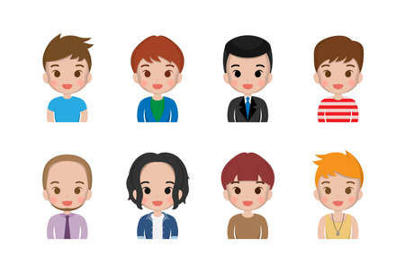 Various men, boys, cute, happy smiles, happiness, joy, facial expressions, cute illustrations, set