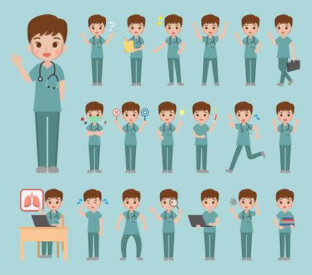 20 different cartoon comic doctor illustrations set