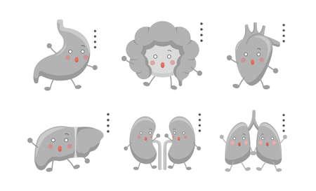Human organs emoji action set, illustration icon cartoon character, vector flat design