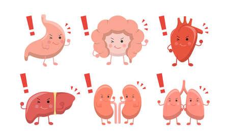 Human organs emoji action set, illustration icon cartoon character, vector flat design Stockfoto - 152655681