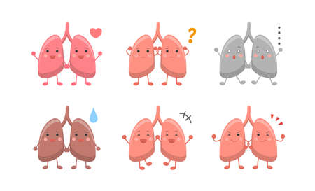Human organs lungs, expressions and actions set