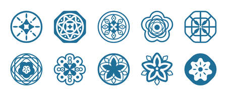 Oriental Chinese New Year element vector design, circular pattern, Chinese porcelain, auspicious good luck wealth