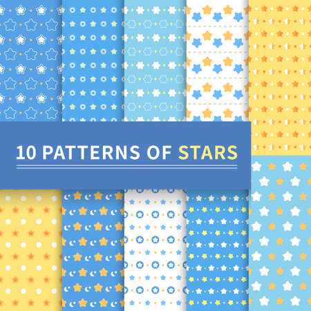 10 different classic patterns of blue stars for backgrounds, web pages, surface textures, invitation cards, Valentine's Day, seamless backgrounds