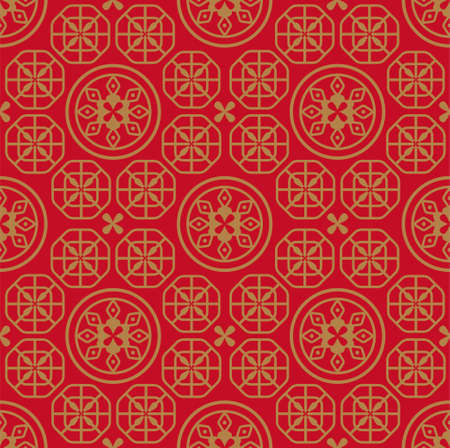 Oriental Chinese New Year elements vector design, circular pattern, Chinese porcelain, auspicious good luck wealth, seamless wallpaper background
