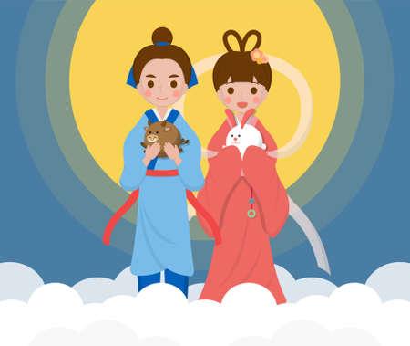 Chinese Festival, Chinese Qixi Festival, Qixi Festival, cartoon illustration