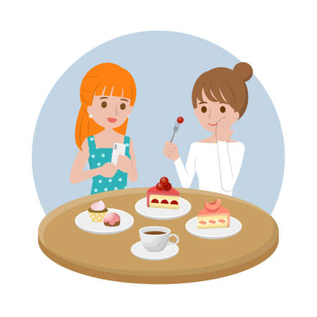 Beautiful women chatting and having afternoon tea, cake and coffee, financial business office vector design cartoon illustration
