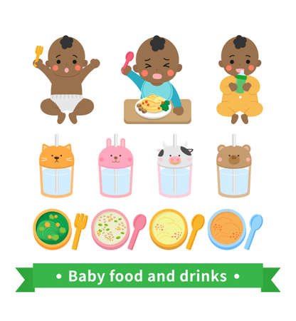 Little boy baby eating noodles, drinking water, noisy, happy, yellow jumpsuit, baby food supplies set