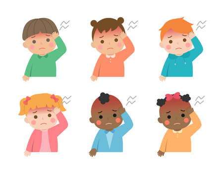 Cute children daily illustrations set, different races with skin color, fever headache virus disease, cartoon comic illustration