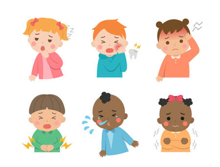 Cute children's daily illustration set, different races with skin color, crying, illness, cold, virus, tooth decay, pain, cartoon comic vector illustration, set, isolated
