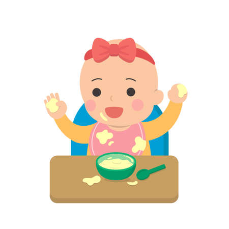 Cute baby eating, dirty, daily life, cartoon vector illustration, set, isolated