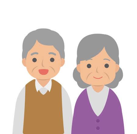 Elderly couple happy smiling isolated on white background, cartoon comic vector illustration