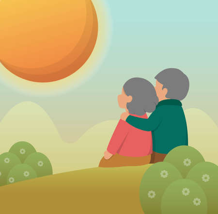 Elderly couple sitting on the hillside, cartoon comic vector illustration, card, background Иллюстрация