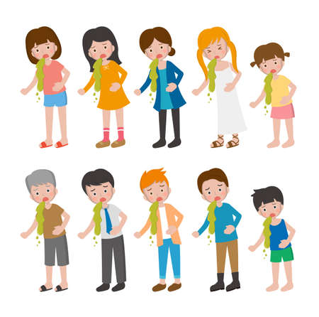 10 kinds of cartoon characters vector set of man and woman with children, illness, abdominal pain, vomiting
