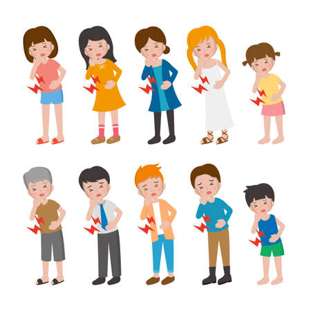 10 kinds of illustration cartoon characters vector set of man and woman with children, illness, abdominal pain