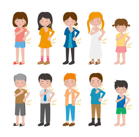 10 kinds of cartoon characters vector set of man and woman with children, bones, soreness