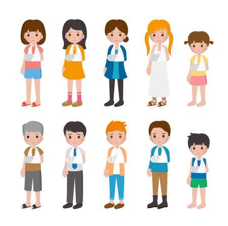 10 kinds of cartoon characters vector set of man and woman with children, fractures, bones, hands