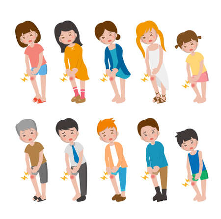 10 kinds of cartoon characters vector set of man and woman with children, bones, knees, soreness