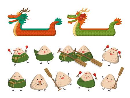 Cartoon Vector Set of Comic Cartoon Characters Mascots and Dragon Boats for Dragon Boat Festival Zongzi