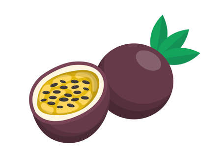 Passion fruit comic cartoon vector isolated on white background