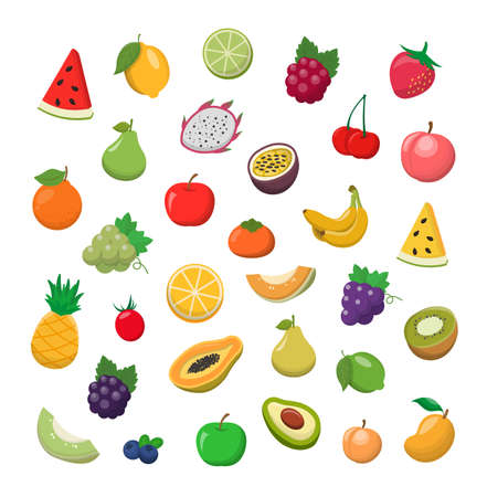 Many different fruits cartoon comic icons vector set