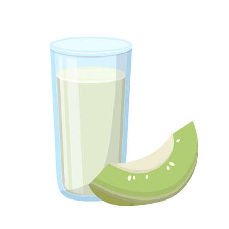 Cartoon comic vector of cantaloupe juice with glass cup Vetores