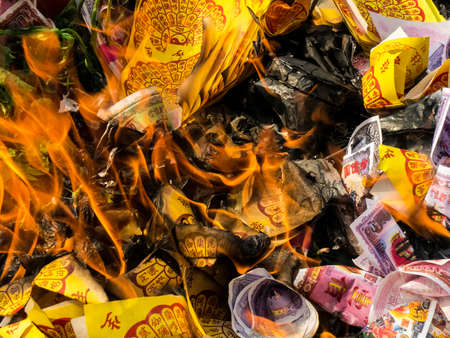 believe: burning silver-gold paper , is believe of chinese
