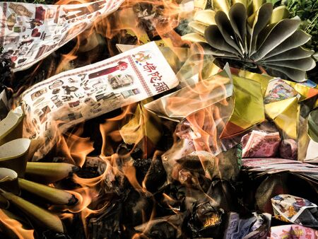 burning money: burning silver-gold paper , is believe of chinese