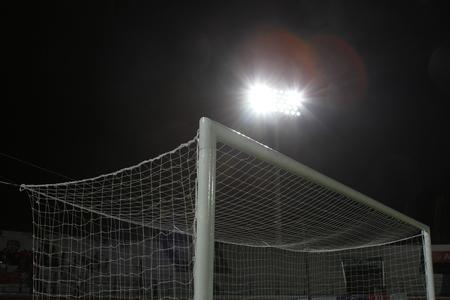 football goal post: Football goal post at night. Stock Photo