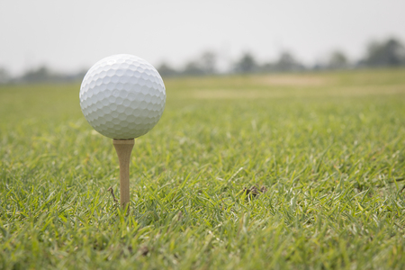 off course: Golf ball is on the tee.