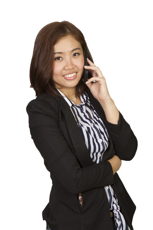 predicted: The girl is contacting customers to the business world.