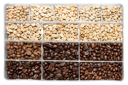 processed grains: Examples coffee beans compared intensity levels.