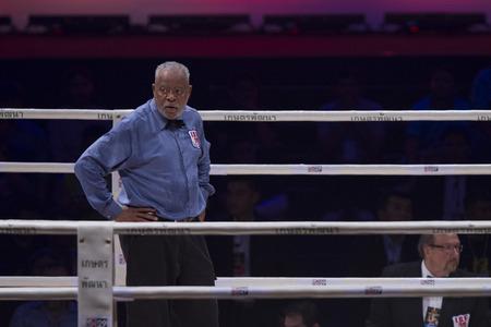 flyweight: BANGKOK,THAILAND:JUNE 2015:Amnat Ruenroeng Championship IBF Thailand vs John Riel Reponte Casimero  Challenger Philippines at Hua Mark Indoor Stadium on 27 june2015,Bangkok Thailand. Editorial
