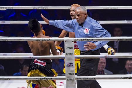 BANGKOK,THAILAND:JUNE 2015:Amnat Ruenroeng Championship IBF Thailand vs John Riel Reponte Casimero  Challenger Philippines at Hua Mark Indoor Stadium on 27 june2015,Bangkok Thailand. Editorial