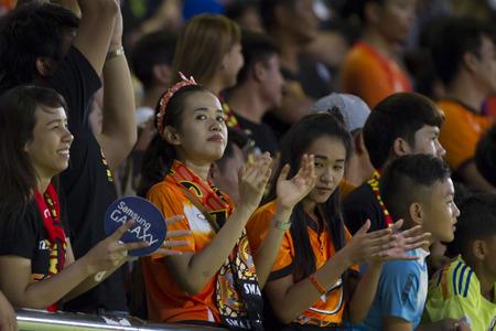 premier league: BANGKOK,THAILAND:JUNE 2015:Cheering of Nakhon Ratchasima fc;PORT F.C.OBvs Nakhon Ratchasima Mazda F.C.Wat PAT Stadium;inThai Premier League on15July2015,Bangkok Thailand.