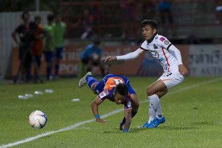 pat: BANGKOK,THAILAND:JUNE 2015:Ekkabhum No.8 and ;PORT F.C.OBvs Nakhon Ratchasima Mazda F.C.Wat PAT Stadium;inThai Premier League on15July2015,Bangkok Thailand.
