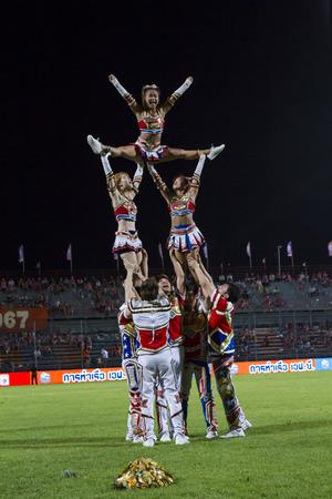 premier league: BANGKOK,THAILAND:JUNE 2015:Cheerleader  Pom Pom Girls;PORT F.C.OBvs Nakhon Ratchasima Mazda F.C.Wat PAT Stadium;inThai Premier League on15July2015,Bangkok Thailand.