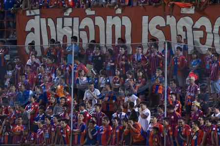 premier league: BANGKOK,THAILAND:JUNE 2015:Cheering of Port fc;PORT F.C.OBvs Nakhon Ratchasima Mazda F.C.Wat PAT Stadium;inThai Premier League on15July2015,Bangkok Thailand.