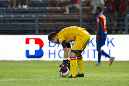 pat: BANGKOK,THAILAND:JUNE 2015:GK,Worawut No.36 Thai;PORT F.C.OBvs Nakhon Ratchasima Mazda F.C.Wat PAT Stadium;inThai Premier League on15July2015,Bangkok Thailand.