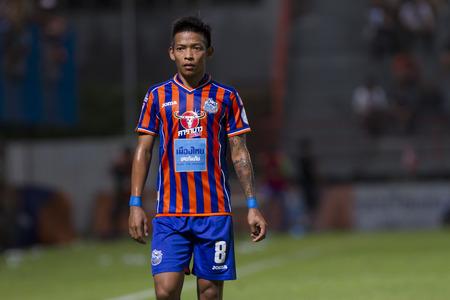premier league: BANGKOK,THAILAND:JUNE 2015:MF,Ekkabhum;PORT F.C.OBvs Nakhon Ratchasima Mazda F.C.Wat PAT Stadium;inThai Premier League on15July2015,Bangkok Thailand.