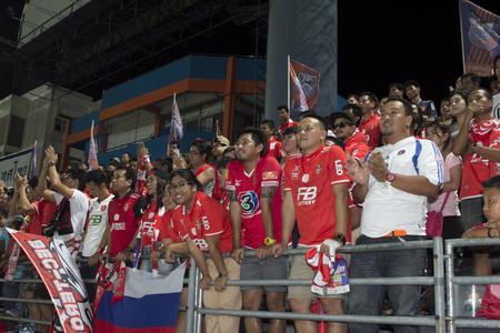 premier league: BANGKOK,THAILAND:AUGUST;2015:Cheering team of BEC-Tero in football Thai Premier League between between PORT FC and BEC-Tero sasana at PAT Stadium on AUGUST 9,2015inThailand.