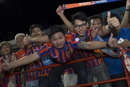 premier league: BANGKOK,THAILAND:AUGUST;2015:Cheering team of Port FC in Thai Premier League between between PORT FC and BEC-Tero sasana at PAT Stadium on AUGUST 9,2015inThailand. Editorial