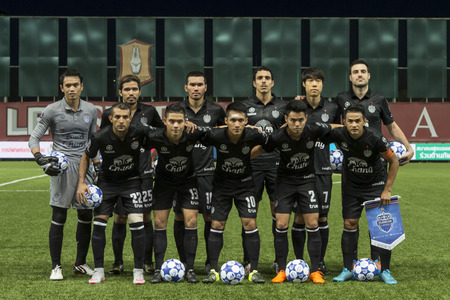 fa: BANGKOK,THAILAND:August 2015:Player of Bang kokgass fc in football Chang FA Cup round of 16 teams between BANGKOK GLASS FC and BURIRAM UNITED at LEO Stadium on August,12,2015inThailand.
